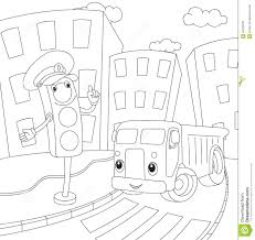 cartoon car and traffic lights coloring book for kids stock