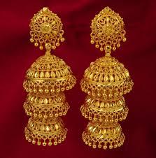traditional 18k gold plated jhumka dangle earring set women ethnic