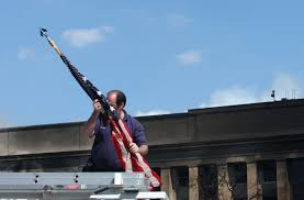 American Flag On Truck File A Firefighter Places An American Flag Found Inside The