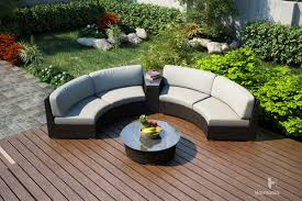 Curved Patio Furniture Set - harmonia living arden 4 piece eclipse sectional set