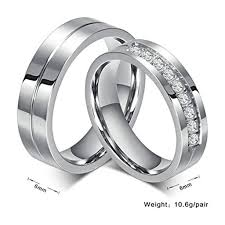 interlocking engagement ring wedding band beydodo stainless steel rings wedding bands for unisexs cz