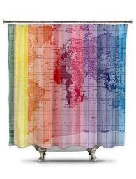 Map Fabric Rainbow World Map By Catherine Holcombe Fabric Shower Curtain