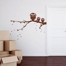 owls on branch wall sticker woodland wall decor