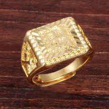 big gold rings images Pure gold color quot wealth quot chinese letter men 39 s ring hip hop jpg
