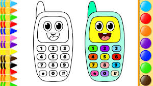 how to draw phone with buttons and numbers learn coloring pages