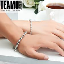 sterling bangle bead bracelet images Sterling silver couple bracelets matching his and hers bracelets jpg