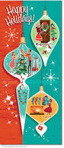 christmas ornament scenes christmas cards package of 8 retro