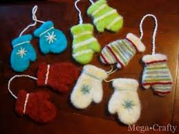 how to needle felted mitten ornaments make