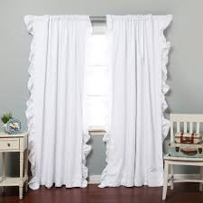decorating white ruffle light blocking curtains for home