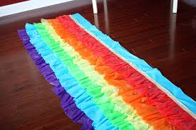 How To Make A Table Skirt by Rainbow Ruffled Plastic Tablecloth Tutorial Diy Home Decor And