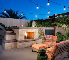 outdoor string lighting patio transitional with built in bench