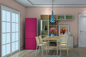 3d dining room sliding doors and refrigerator 3d house