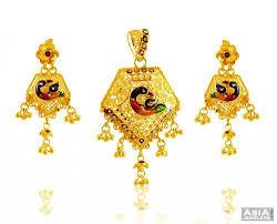 peacock design earrings in gold 22k peacock pendant set ajps58058 22kt yellow gold pendant and