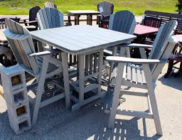 Patio Bar Height Table And Chairs by Poly 44 U2033 Square Bar Height Table And Adirondack Chair Set Amish