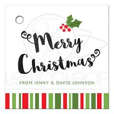 personalized christmas personalized christmas gift tag with and and green stripes
