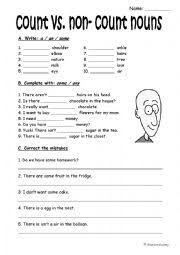 Count And Noncount Nouns Exercises Elementary Count And Non Count Nouns A An Some Any