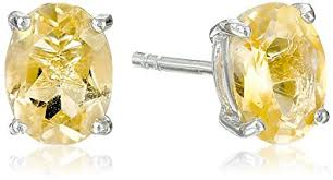 citrine earrings sterling silver oval citrine earrings stud earrings
