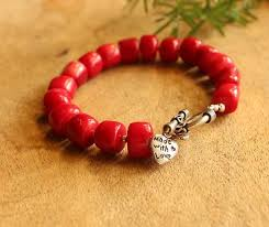 bracelet handmade images Red coral gemstone beaded handmade bracelet at 1950 azilaa jpg