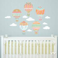Nursery Wall Decal Air Balloons Sky Clouds Wall Print Fabric Wall Decal Nursery