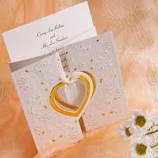 tri fold wedding invitations gold and white heart folded wedding invitations iwzd01