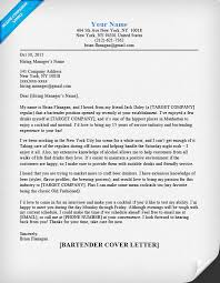 bartender cover letter sample u0026 tips resume companion