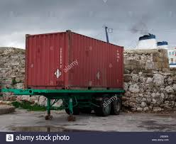 europe greece view of steel cargo shipping container on trailer