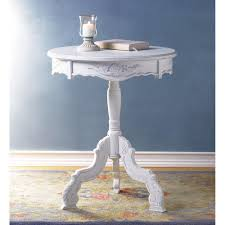 White Accent Table by Romantic Rococo Accent Table White Shabby Chic Round End Table