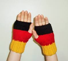Flag Black Red Yellow Hand Knit German Flag Fingerless Gloves For Mens Or Womens In