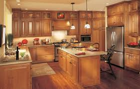 kitchen with wood cabinets wood floors in kitchen with wood cabinets