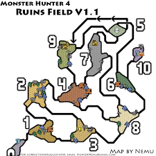 Resource Map Monster Hunter 4 Ruins Field Resource Map Png V1 1 Neoseeker