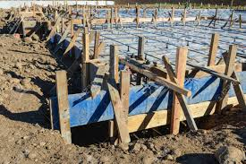 new home foundation new home foundation construction site stock photo picture and