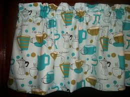 Ladybug Kitchen Curtains by Valance Retro Turquoise Olive Green Coffee Cup Espresso Pot Cafe