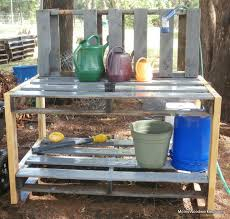diy pallet work table diy pallet potting bench plans to build a simple inexpensive garden