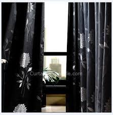 Black Floral Curtains Suitable Jacquard Floral Black Patterned Curtains