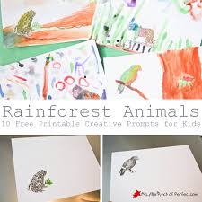 rainforest animals printable coloring prompts for kids