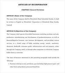 sample articles of incorporation 8 documents in pdf