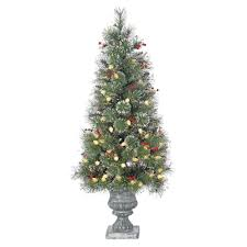 4 ft pre lit incandescent glitter pot artificial christmas tree
