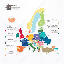 Concept Map Template Europe Map Infographic Template Jigsaw Concept Banner Vector