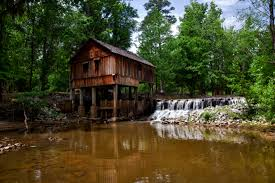 Landscape House Landscape Photography Of Brown Wooden House On Forest Near River