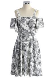 serene floral sketch cold shoulder dress retro indie and unique