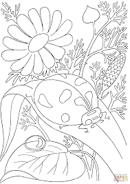 ladybird among flowers coloring page free printable coloring pages