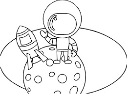 astronaut boy on moon coloring page wecoloringpage