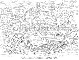 Coloring Book Rural Landscape Farm Stock Vector 658304941
