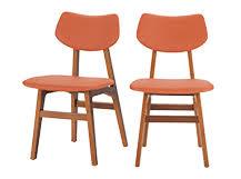 set of 2 dining chairs oak and retro orange jenson made com