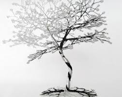 wire tree sculpture on wood base wire tree wire sculpture