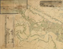 Jamestown Virginia Map A Major Manuscript Map Of The Southern Virginia Peninsula Rare