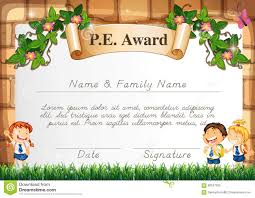 Prize Certificate Template Certificate Template For Pe Award Stock Vector Image 68347933