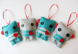 four mini felt plush robots ornaments birthday