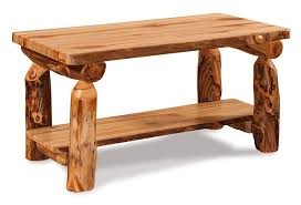 rustic log coffee table wit shelf from dutchcrafters