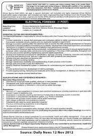 Electrical Supervisor Resume Sample by Electrical Foreman Tayoa Employment Portal